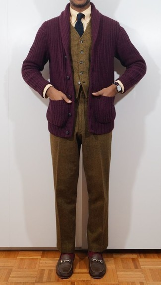 How to Wear Brown Wool Dress Pants For Men: Combining a dark purple shawl cardigan with brown wool dress pants is a wonderful option for a stylish and polished ensemble. Introduce a pair of dark brown leather loafers to the equation and you're all set looking awesome.