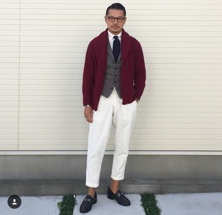 Burgundy Shawl Cardigan Outfits For Men: This combo of a burgundy shawl cardigan and white chinos looks awesome, but it's extremely easy to imitate. And if you need to immediately lift up your look with a pair of shoes, add a pair of black leather loafers to your ensemble.