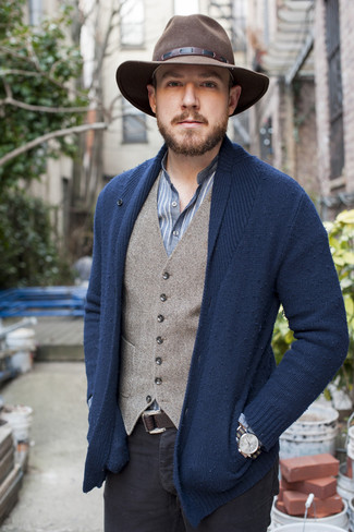 How to wear: navy shawl cardigan, grey wool waistcoat, blue vertical striped long sleeve shirt, black chinos