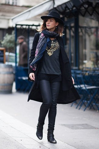 How to wear: black print shawl, black coat, black blazer, charcoal embellished long sleeve blouse