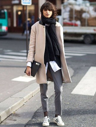 How to wear: black shawl, beige coat, black blazer, black crew-neck sweater