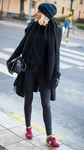 Look stylish yet practical in a black coat and charcoal skinny jeans. Hot pink suede low top sneakers will contrast beautifully against the rest of the look. An outfit like this is great for awkward transition weather.