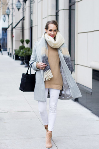 How to wear: light blue shawl, light blue coat, tan oversized sweater, white skinny jeans