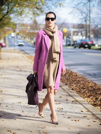 How to wear: tan shawl, hot pink coat, tan wool sheath dress, beige floral leather pumps