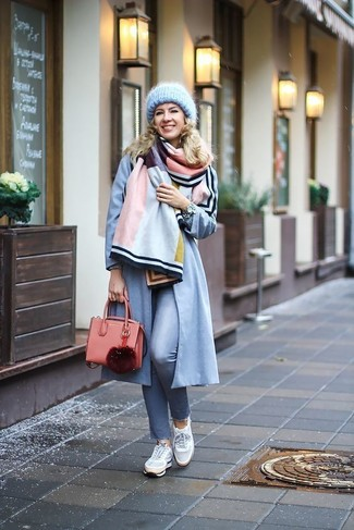 How to wear: multi colored shawl, light blue coat, light blue skinny pants, grey low top sneakers