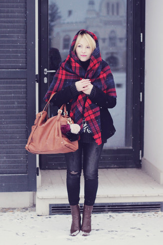 How to wear: red and navy plaid shawl, black coat, black knit turtleneck, charcoal ripped skinny jeans
