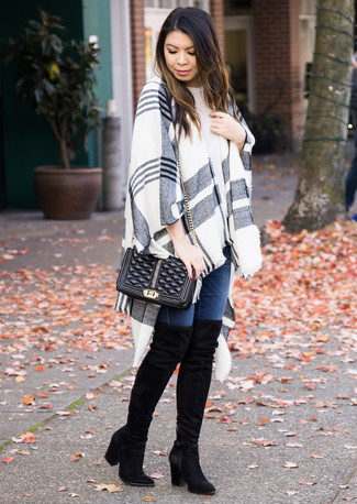 How to wear: grey plaid shawl, white crew-neck t-shirt, navy skinny jeans, black suede over the knee boots
