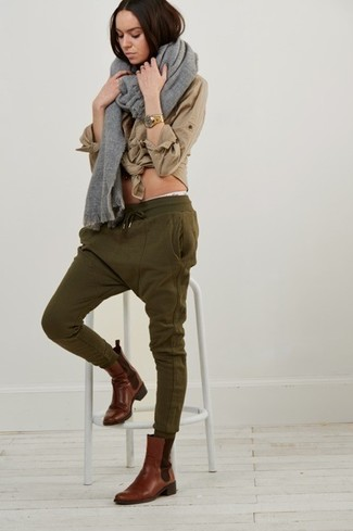 Women&39s Grey Shawl Tan Dress Shirt Olive Sweatpants Brown