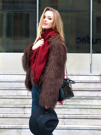 How to wear: burgundy shawl, dark brown fur jacket, navy and green plaid skinny pants, black leather crossbody bag
