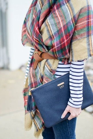 How to wear: multi colored check shawl, white and navy horizontal striped long sleeve t-shirt, blue skinny jeans, navy leather clutch