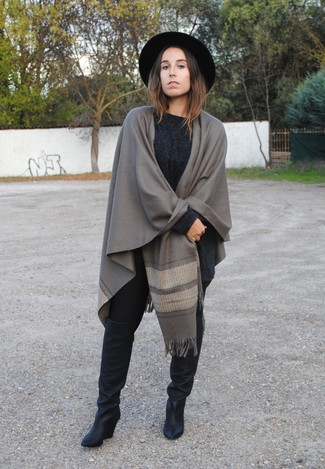 Women's Grey Shawl, Charcoal Knit Oversized Sweater, Black Leggings, Black Leather Knee High Boots