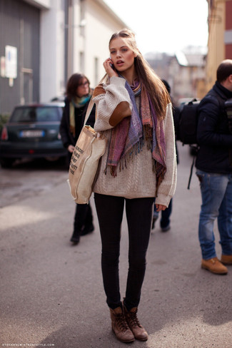 How to wear: multi colored shawl, beige knit oversized sweater, black skinny jeans, brown leather lace-up flat boots