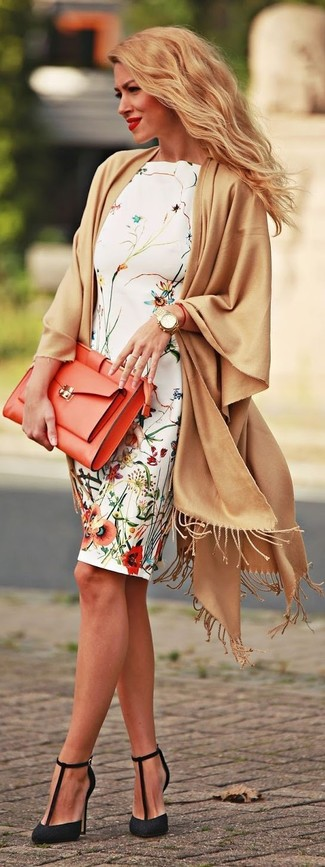 How to wear: tan shawl, white floral sheath dress, black lace pumps, orange leather clutch