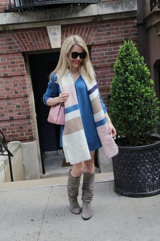 How to wear: multi colored horizontal striped shawl, blue shift dress, grey suede knee high boots, pink leather satchel bag
