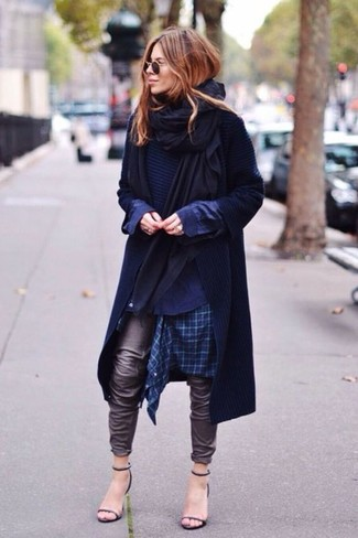 How to wear: black shawl, navy trenchcoat, navy crew-neck sweater, navy plaid dress shirt