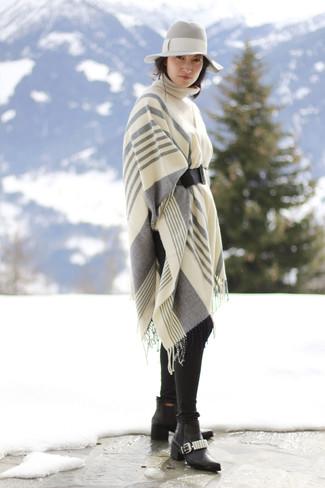 Women's Grey Vertical Striped Shawl, Beige Knit Turtleneck, Black Jeans, Black Leather Chelsea Boots
