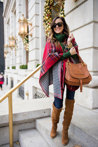 How to wear: red and navy plaid shawl, dark green knit turtleneck, navy skinny jeans, brown suede over the knee boots