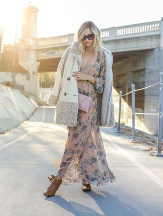 How to wear: white shearling coat, pink floral maxi dress, tan leather ankle boots, pink leather clutch