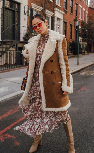 How to wear: tobacco shearling coat, beige print silk midi dress, tan leather knee high boots, tobacco leather crossbody bag