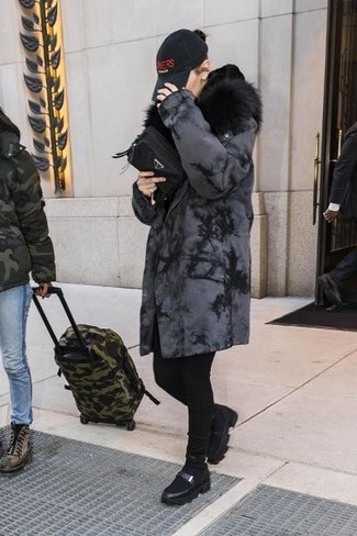 How to wear: charcoal shearling coat, black skinny jeans, black leather platform loafers, black canvas clutch