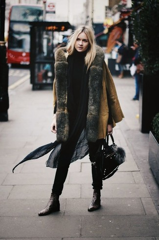 How to wear: tan shearling coat, black turtleneck, dark brown leather ankle boots, black suede satchel bag