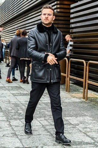 How to Wear a Shearling Coat For Men: Opt for a shearling coat and black chinos to bring out the cool-kid in you. For extra fashion points, add black leather casual boots to the mix.