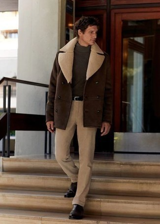Dark Brown Turtleneck Outfits For Men: Opt for a dark brown turtleneck and khaki corduroy chinos to achieve a really sharp and modern-looking casual ensemble. Let your outfit coordination credentials truly shine by complementing your getup with a pair of dark brown leather chelsea boots.