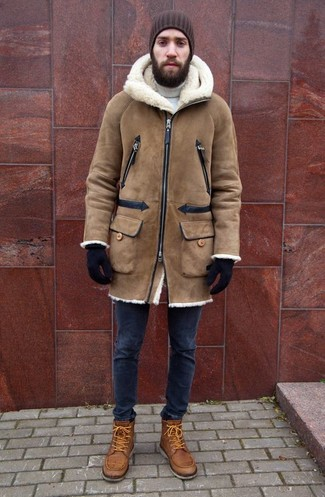 How to wear: tan shearling coat, white turtleneck, navy skinny jeans, tan leather casual boots