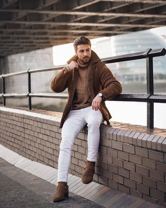 Dark Brown Leather Watch Outfits For Men: Make a brown shearling coat and a dark brown leather watch your outfit choice for a contemporary look that's easy to wear. Brown suede chelsea boots are a simple way to power up this getup.
