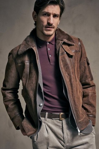How to wear: dark brown shearling jacket, grey gingham blazer, burgundy polo, beige corduroy jeans