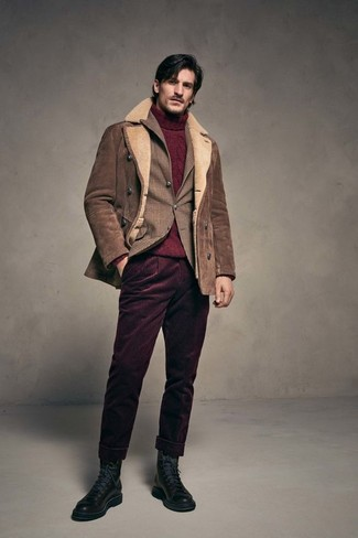 How to wear: brown shearling jacket, brown plaid blazer, burgundy knit turtleneck, burgundy corduroy chinos