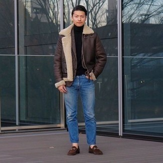 500+ Winter Outfits For Men: Why not pair a dark brown shearling jacket with blue jeans? These two pieces are very practical and look great married together. A good pair of brown suede loafers is an effective way to upgrade this ensemble. Putting together a pulled together combination can be a bit of a challenge on its own. Add subzero temperatures into the equation, and the whole thing becomes all the more difficult. Fear not, this here is your winter inspo.