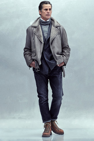 Charcoal Jeans Cold Weather Outfits For Men: Pairing a grey shearling jacket and charcoal jeans will allow you to display your prowess in men's fashion even on off-duty days. Take a more laid-back approach with shoes and complement your outfit with a pair of brown leather work boots.