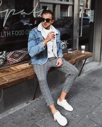 How to wear: light blue denim shearling jacket, white cable sweater, grey plaid chinos, white low top sneakers
