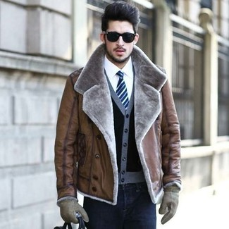 How to wear: brown shearling jacket, black cardigan, white dress shirt, black skinny jeans