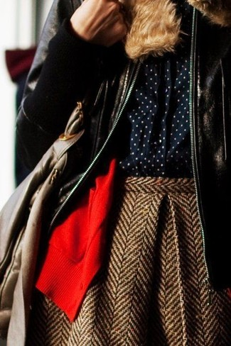 How to wear: dark brown shearling jacket, red cardigan, navy polka dot dress shirt, brown herringbone wool skater skirt