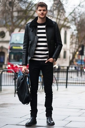 How to Wear Black Jeans In Winter For Men: Putting together a black shearling jacket with black jeans is an on-point idea for a laid-back yet sharp outfit. You can stick to a more elegant route with shoes by rounding off with black leather chelsea boots. In the winter season, when warmth is key, it can be easy to settle for a less-than-stylish look in the name of convenience. However, this look is a clear example that you can actually stay comfortable and remain stylish during the winter season.