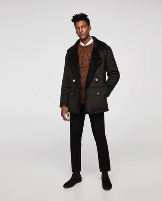 500+ Winter Outfits For Men: Inject style into your day-to-day casual collection with a dark brown shearling jacket and black chinos. Transform this outfit with black suede chelsea boots. Yep, it is totally possible to be winter-ready without looking like a snowman.
