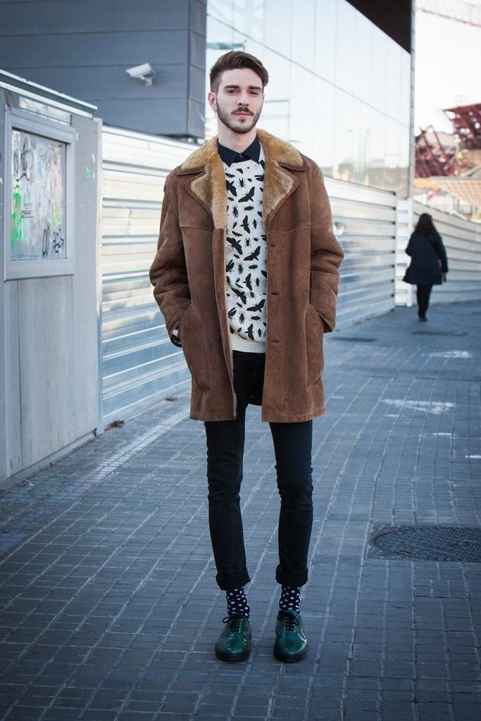 Men&39s Brown Shearling Jacket White and Black Print Crew-neck