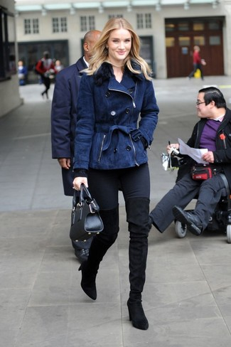 How to wear: navy shearling jacket, black crew-neck sweater, black skinny jeans, black suede over the knee boots