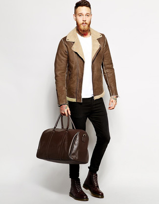 Men's Brown Shearling Jacket, White Crew-neck T-shirt, Black Skinny Jeans, Dark Brown Leather Casual Boots