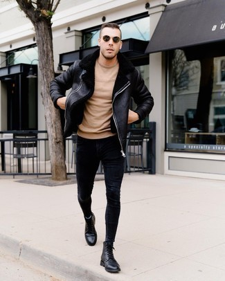 1152+ Winter Outfits For Men: If you gravitate towards relaxed getups, why not consider this combination of a black shearling jacket and black skinny jeans? Black leather casual boots will bring an air of class to an otherwise mostly casual outfit. During the winter months, when warmth is above all, it can be easy to settle for a less-than-stylish outfit in the name of functionality. This outfit, however, is a vivid example that you can actually stay toasty and remain stylish during the winter months.