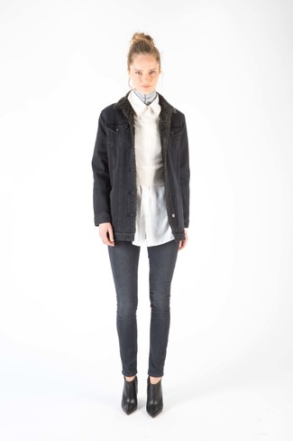 How to wear: charcoal denim shearling jacket, white cropped sweater, white dress shirt, charcoal skinny jeans