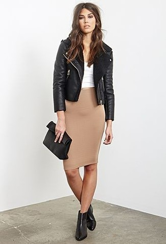 Reach for a white cropped top and a tan pencil skirt and you'll be the picture of elegance. Dress down your look with black leather chelsea boots.