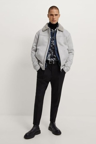 500+ Winter Outfits For Men: If the setting permits casual dressing, marry a grey shearling jacket with black chinos. And if you wish to easily ramp up your outfit with footwear, introduce a pair of black leather chelsea boots to the mix. Putting together a killer getup can be a bit daunting on its own. Enter cold temperatures into the equation, and the whole thing becomes all the more difficult. No worries, this here is your winter inspo.