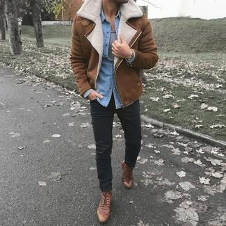 How to wear: brown shearling jacket, light blue denim shirt, grey tank, black chinos