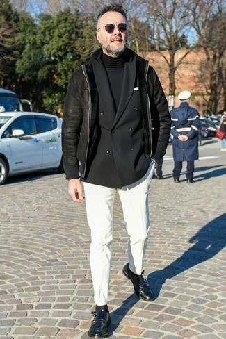 How to Wear a Black Shearling Jacket For Men: Try teaming a black shearling jacket with white chinos if you want to look neat and relaxed without too much work. For a more sophisticated vibe, why not introduce a pair of black leather double monks to this look?