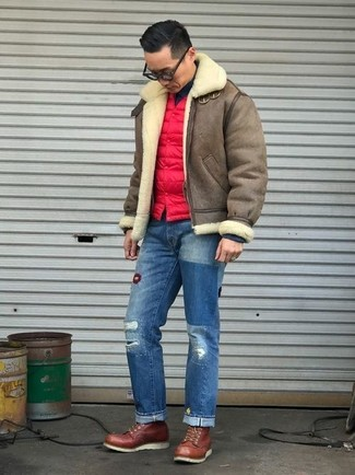 How to wear: brown shearling jacket, red quilted gilet, black turtleneck, blue ripped jeans