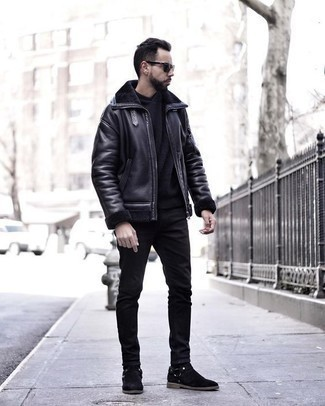 Black Jeans with Black Hoodie Outfits For Men: Such essentials as a black hoodie and black jeans are the ideal way to introduce effortless cool into your daily repertoire. Introduce a pair of black suede chelsea boots to this outfit to immediately rev up the classy factor of this outfit.