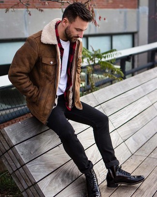 How to wear: brown shearling jacket, red and black check flannel long sleeve shirt, white crew-neck t-shirt, black skinny jeans